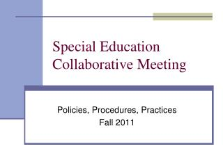 Special Education Collaborative Meeting