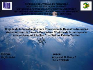 REPUBLICA BOLIVARIANA DE VENEZUELA MINISTERIO DE EDUCACION SUPERIOR