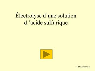 lectrolyse d une solution d  acide sulfurique