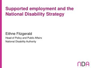 Supported employment and the National Disability Strategy