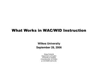 What Works in WAC/WID Instruction