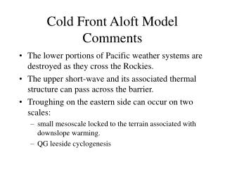 Cold Front Aloft Model Comments