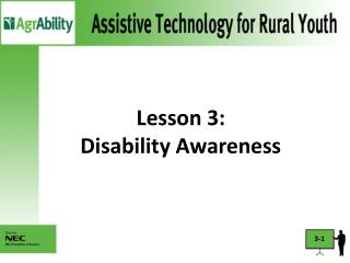Lesson 3:  Disability Awareness