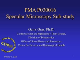 PMA P030016  Specular Microscopy Sub-study