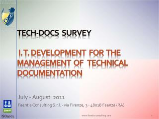 Tech-docs   SURVEY  I. T. DEVELOPMENT  FOR  THE MANAGEMENT  OF   TECHNICAL DOCUMENTATION