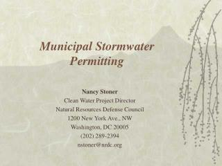 Municipal Stormwater Permitting