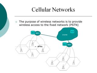 The purpose of wireless networks is to provide wireless access to the fixed network (PSTN)