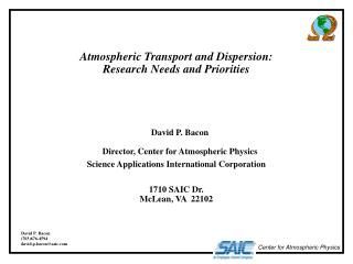 Atmospheric Transport and Dispersion: Research Needs and Priorities