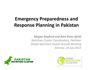 Emergency Preparedness and Response Planning in Pakistan