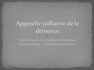 Approche palliative de la démence