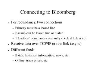 Connecting to Bloomberg