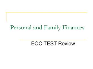 Personal and Family Finances