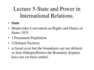 Lecture 5-State and Power in International Relations.