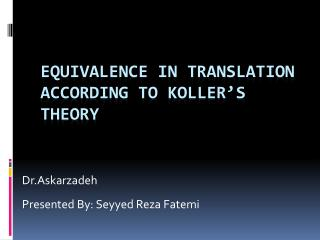 Equivalence in translation according to  Koller's  theory