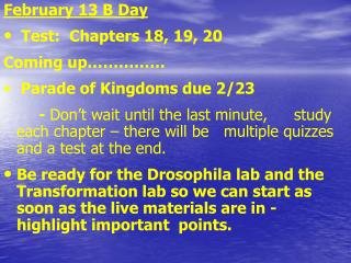 February 13 B Day  Test:  Chapters 18, 19, 20 Coming up…………… Parade of Kingdoms due 2/23