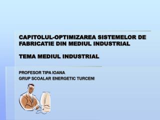 CAPITOLUL-OPTIMIZAREA SISTEMELOR DE FABRICATIE DIN MEDIUL INDUSTRIAL TEMA MEDIUL INDUSTRIAL