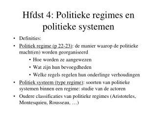 Hfdst 4: Politieke regimes en politieke systemen