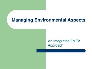 Managing Environmental Aspects