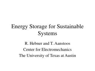 Energy Storage for Sustainable Systems