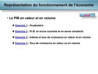 Le PIB en valeur et en volume Exercice 1  : Vocabulaire