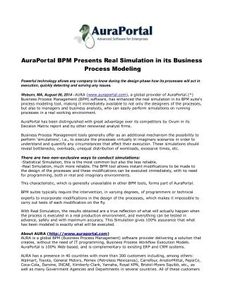 AuraPortal BPM Presents Real Simulation in its Business Proc