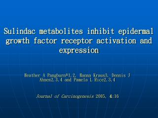 Sulindac metabolites inhibit epidermal growth factor receptor activation and expression