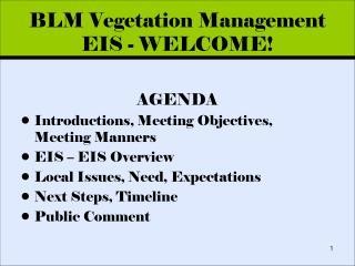 BLM Vegetation Management EIS - WELCOME