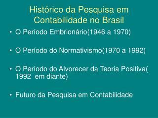 Histórico da Pesquisa em Contabilidade no Brasil