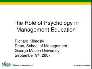 The Role of Psychology in Management Education