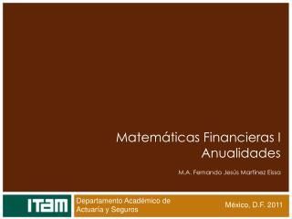 Matemáticas Financieras I Anualidades M.A. Fernando Jesús Martínez Eissa