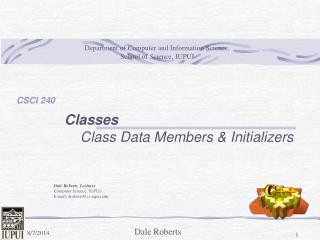 Classes Class Data Members & Initializers