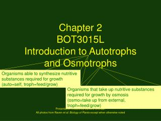 Chapter 2 BOT3015L Introduction to Autotrophs and Osmotrophs