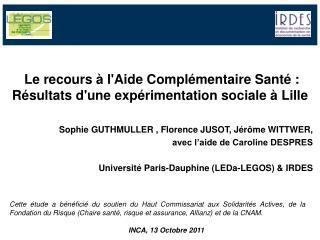 Le recours à l'Aide Complémentaire Santé : Résultats d'une expérimentation sociale à Lille