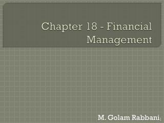 Chapter 18 - Financial Management
