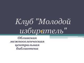 """Клуб """"Молодой избиратель"""""""