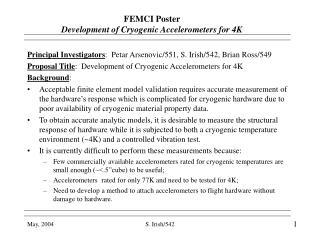 FEMCI Poster   Development of Cryogenic Accelerometers for 4K