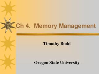 Ch 4.  Memory Management