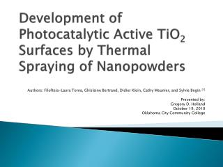 Development of Photocatalytic Active TiO 2  Surfaces  by Thermal  Spraying of Nanopowders