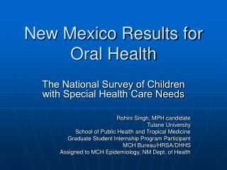 New Mexico Results for Oral Health