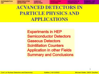 ACVANCED DETECTORS IN  PARTICLE PHYSICS AND APPLICATIONS