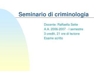 Seminario di criminologia
