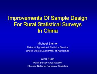 Improvements Of Sample Design For Rural Statistical Surveys  In China