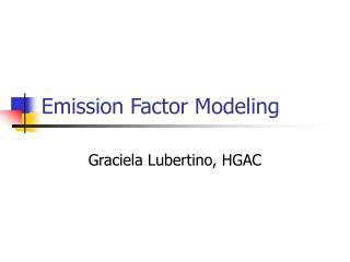 Emission Factor Modeling