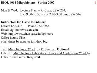 BIOL 4014 Microbiology   Spring 2007
