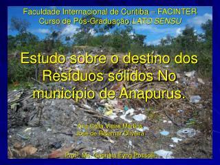Faculdade Internacional de Curitiba � FACINTER Curso de P�s-Gradua��o  LATO SENSU