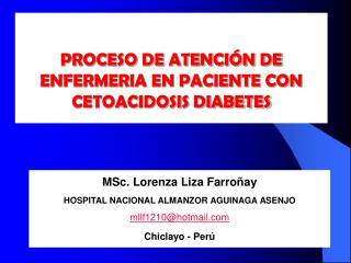 PROCESO DE ATENCIÓN DE  ENFERMERIA EN PACIENTE CON CETOACIDOSIS DIABETES