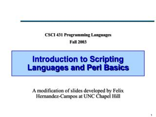 Introduction to Scripting Languages and Perl Basics