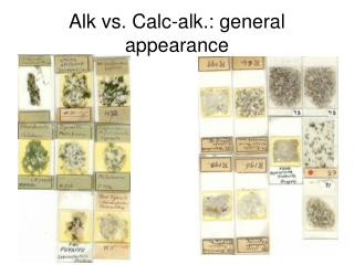 Alk vs. Calc-alk.: general appearance