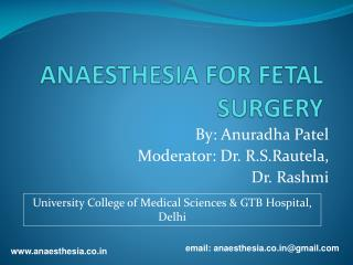 ANAESTHESIA FOR FETAL SURGERY