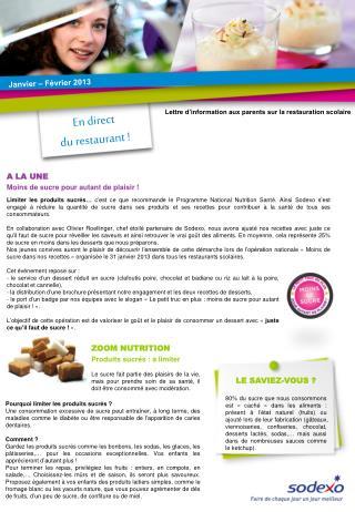 ZOOM NUTRITION Produits sucrés : à limiter